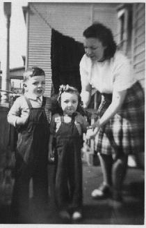 Jimmy Mike, little sister, Sissy, and mom - 1947