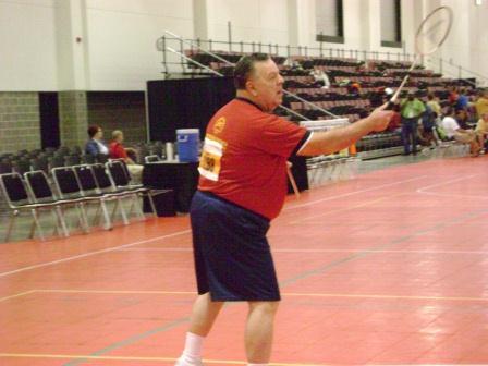 Jim playing Badminton at 2010 US Transplant Games