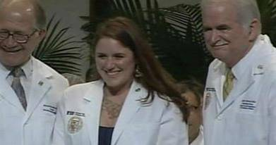 "August, 2009, and Trine Engebretsen, 26 years later, is part of FIU's inaugural medical school class. ""Always have faith and hope. It's not too late, until you're no longer alive, so hang in there. Good things will happen,"" she said. PS: Trine met her husband while helping him through the process of getting his own liver transplant"